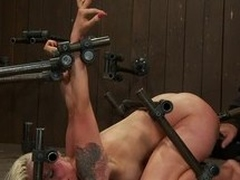 Two kinky babes are being mistreated by a busty shemale