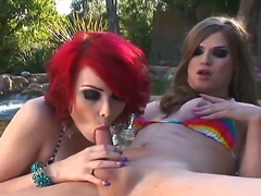 Two shemales Sarina Valentina and Tiffany Starr are going to spend nice time in wonderful shemale pounding. They start fucking in a swimming pool  continue inside of house.
