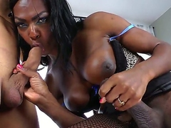Wonderful bitch and a shemale whore Vixen Coxx is having some good time with her boyfriend doing a blowjob for each other and masturbating their cocks really hard and nice by turns.