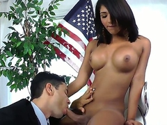 Tanned and busty shemale brunette Jane Marie came to state officer Gabriel A requiring special rights for shemales! Gabriel A wants to prove that he is not against shemale and decides to make it with his body.