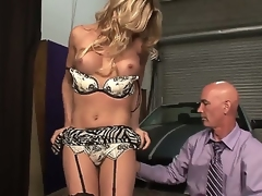 Stunning attractive seductive blonde shemale Angelina Torres with big juicy boobs and perfect ass in teasing lingerie gets her stiff pecker sucked good by turned on bald stud