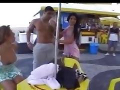 Crazy orgy after beach football