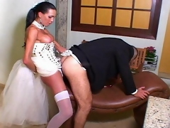 Sexy shemale bride canТt wait any minute craving to drill the ass of groom