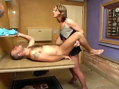 Slutty shemale in control top hose getting her cock sucked before anal sex